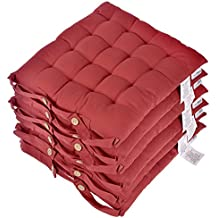 Homescapes Lot De 6 Galettes Chaises Matelasses 40 X Cm Rouge