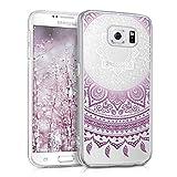 kwmobile Funda para Samsung Galaxy S6 / S6 Duos - Carcasa de [TPU] para móvil y diseño de Sol hindú en [Violeta/Blanco/Transparente]
