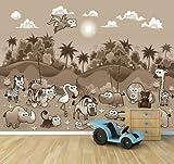 selbstklebende Fototapete - Kindertapete - Dschungeltiere Cartoon I - sephia - sepia - 360x270 cm - Tapete mit Kleber – Wandtapete – Poster – Dekoration – Wandbild – Wandposter – Wand – Fotofolie – Bild – Wandbilder - Wanddeko