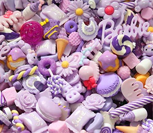 sortiert 30Stück Cute Candy schlamm Perlen Fruit Dessert Eis Kunstharz Charms Scheiben Flache Tasten für Handwerk Zubehör Scrapbooking Telefon Fall Decor, Lilac, 10mm-25mm