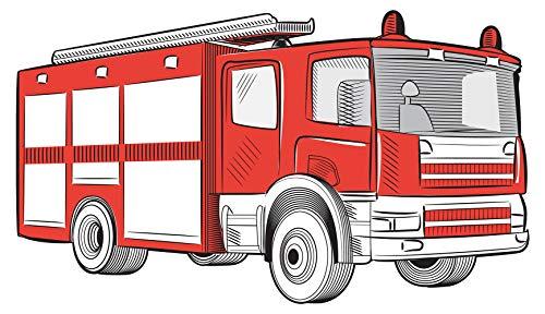 feuerwehr wandtattoo Wandtattoo Kinderzimmer Feuerwehr Auto rot weiß Wandsticker Feuerwehrmann Deko