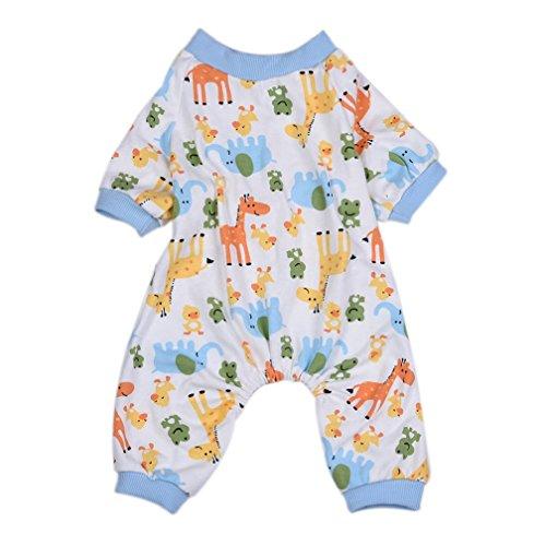 alkyoneus Cute Cartoon Elefant Giraffe Hund Pyjama Jumpsuit Weiche Baumwolle Haustier (Tragen Kostüm Hund Giraffe)