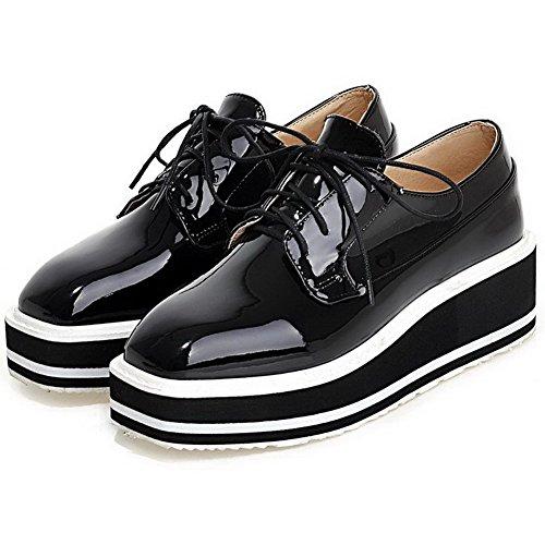 VogueZone009 Femme Pu Cuir à Talon Correct Carré Couleur Unie Lacet Chaussures Légeres Noir