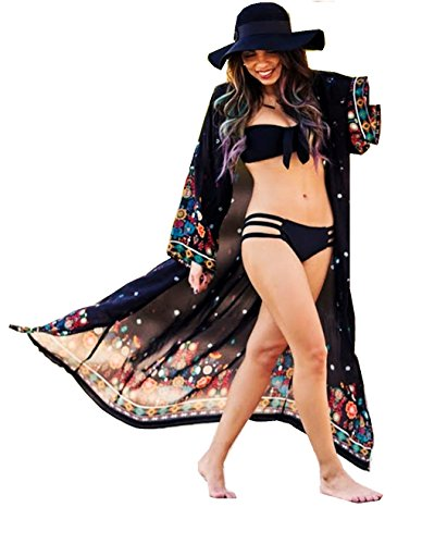 ASSKDAN Damen Böhmen Sommer Kimono Cardigan Lang Pareos Bikini Cover Up - 4 Farben (Schwarz, One Size) (Schwarz Floral Kimono)