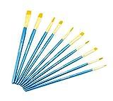 AKORD Multifunctional Nylon Paint Brushes, Plastic, Sky Blue, Set of 10