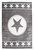 Wohnzimmerteppich Kurzflorteppich Maschinenwebteppich SOUND 32 | 80x150 cm | Grau mit Sternen