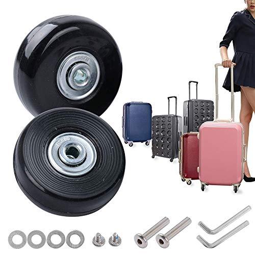 Sxspace Paar Gepäck-Koffer Ersatz Wheels Rad Gummi Metall für Trolley Gepäckkoffer Hartschalenk ffer OD 70x23mm -