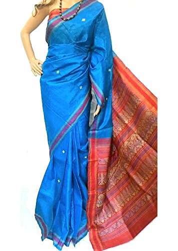 Riaa Collection Women's Pure Kosa Tussar Hand Woven Ethnic Saree- (RIAA-170313_Blue)