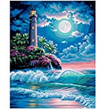 BAIYUDE Plein Tour Drill DIY 5D Diamant Peinture Sea Spray Lune Broderie Point De Croix De Mosaïque Strass Home Decor Cadeau 45x60 CM
