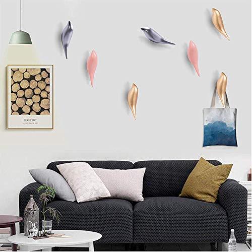 Yoillione Kleiderhaken mit Vogel-Motiv, für Wand/Schlüssel/Wandhalterung, Haken für Kleidung, Holz-Wandhaken, Küche, Handtuchhaken, 2,8 Farben, Rose, 13x4.5x4CM/5