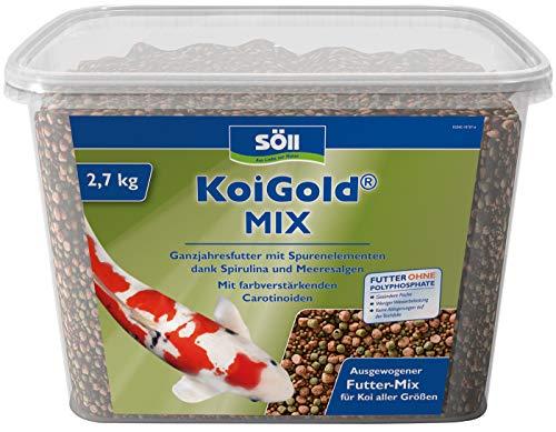 Söll  18796 KoiGold Mix - Alleinfuttermittel für alle Koi-Fischfutter - Gartenteich, 1er Pack (1 x 2,4 kg)