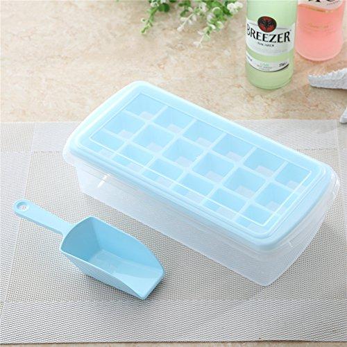 Yiliay Groß Kapazität Eiswürfelform DIY Eiswürfelschale Deckel Eiswürfelbehälter Mit Eiskratzer-Blau
