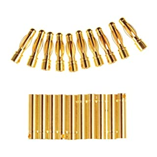 Well-Goal 4.0mm/4mm Banana Gold Bullet Banana Connector Plug Gold Bullet Connector(10 pairs)