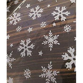 Silver snowflake star cellophane SHEET 2m hamper gift wrapping festive xmas