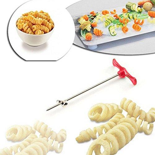 Spiralizzatore per verdure, in acciaio inox, dimensioni di una mano, tagliaverdure, affettatrice manuale, utensile per arrotolare, per ravanelli, patate