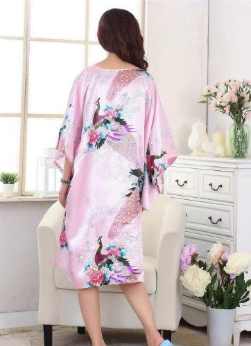 JTC Femme Vêtement de Nuit Robe Imprimé Chinois Fleur Rose