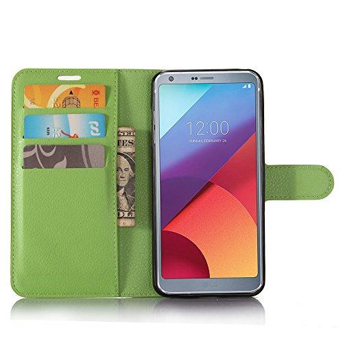 Guran® PU Ledertasche Case für LG G6 Smartphone Flip Deckung Standfunktion und Karte Slot Telefonkasten Etui-grün