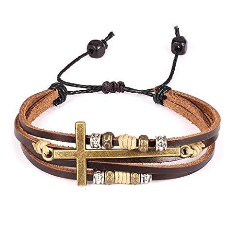 Fate Love Bijoux Vintage Bronze Alliage Croix Bracelet jonc en