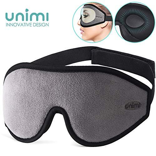 Unimi Premium Schlafmaske Damen und Herren, NULL-Druck 3D konturierte verbesserte Augenmaske, verstecktes Nasenflügel-Design ermöglicht absolute Dunkelheit, 100% hautfreundliche Seide Augenmaske (Make-up Ganze Verkauf)