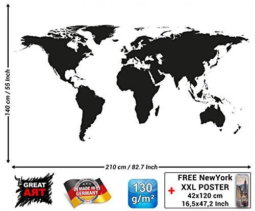 Carta da parati fotografica Mappa del mondo in bianco e nero Quadro Murale Decorazione Globo Cartina Terra Continenti Atlante World Map Mondo Map of the world I Fotomurales by GREAT ART (210x140 cm)