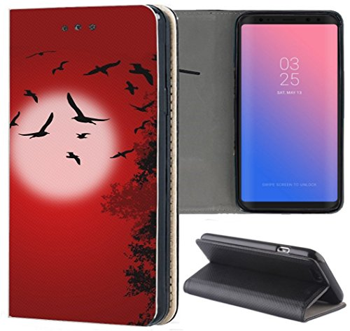 Huawei P9 Lite 2015 Hülle Premium Smart Einseitig Flipcover Hülle P9 Lite 2015 Flip Case Handyhülle Huawei P9 Lite 2015 Motiv (1553 Vögel Mond Schwarz Rot)
