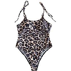 BBestseller Bikinis Mujer, Bañador de una Pieza con Correa de Leopardo y Correa de Leopardo Honda 1 Pieza Bikini Push Up Traje De Baño Ropa De Playa (m, Marron)