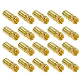 HB Digital 20 Stück PROFI Kompressionsstecker vergoldet F-Stecker für SAT Kabel, Koaxialkabel mit Durchmesser Ø 6.8 – 7.2 mm