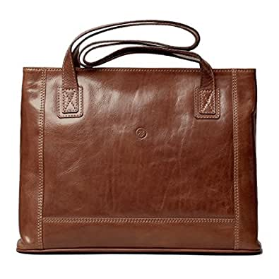 Maxwell Scott® Luxury Italian Leather Women's Shopper Handbag (Athenea), Classic Tan