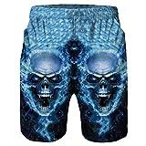 Jaminy 3D Druckten Herren Sommer-Beiläufige Kurze Hosen Sweat Shorts Jogging Pants Sport Bermuda Hose M-2XL (Blau, XXL)