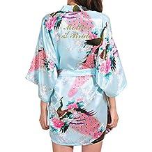 Kunfang Satin Albornoz Albornoz Sexy Peacock Kimono Fiesta Nupcial Traje Madre Novia Batas Regalo de Boda