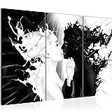 Bilder Milk und Coffee Wandbild 120 x 80 cm - 3 Teilig Vlies - Leinwand Bild XXL Format Wandbilder Wohnzimmer Wohnung Deko Kunstdrucke Schwarz Weiß -100% MADE IN GERMANY - Fertig zum Aufhängen 005031b