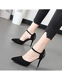 Xue Qiqi Seule la bouche peu profonde chaussures hauts talons sauvages pointe fendue en satin avec attaches bold, avec Sandales femme,35, gris
