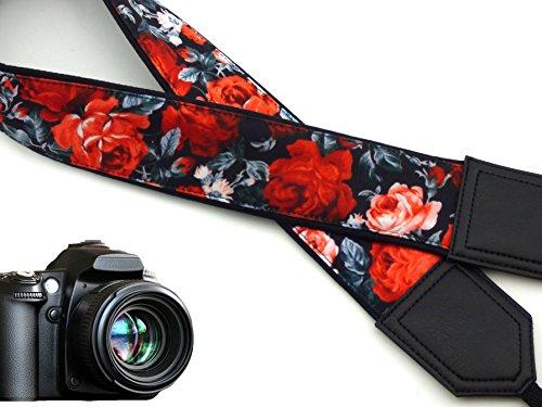 Floral Scarf Belt (intepro Flower. Kameragurt rot Rosen Kameragurt DSLR/SLR. Schwarz Blumenmuster Kameragurt. Vintage Botanical Kamera. Langlebig, Leicht Gewicht und gut gepolstertem Kamera Strap. Code 00042)