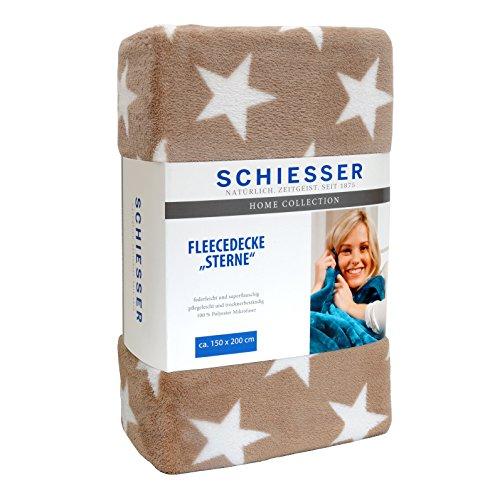 Schiesser Fleecedecke Sterne 150 x 200 cm taupe / Wohndecke in versch. Farben