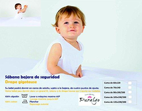 Sábana de seguridad para bebés, color blanco, 90x190 cm