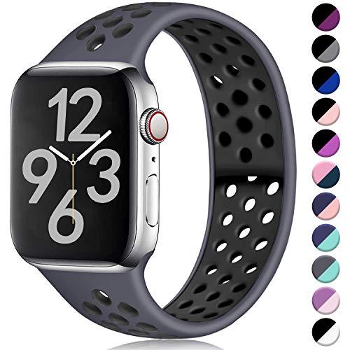 Hamile Correa para Apple Watch 42mm 44mm, Doble Color Pulsera de Repuesto de Silicona Suave Transpirable Correa para Apple Watch Series 5/4/3/2/1, M/L Carbón/Negro