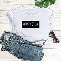 JFCDB Camiseta de Verano,todo en la Carta de Impresión de las Mujeres Divertida de Algodón de Manga Corta Tops Camiseta Mujer, color blanco, negro, tamaño XXXL
