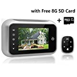 Digitaler Türspion, 8,9 cm LCD-Bildschirm, Türspion mit 8 GB SD-Karte, Türspion-Kamera mit hoher Pixelanzahl mit Nachtsicht, Weitwinkel + Videoaufzeichnung + Foto-Türklingel Sicherheitskamera TB-518