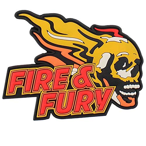 VAN OS Emblem 3D Rubber Patch Fire & Fury Skull 7,6 x 9,8 cm Klett Abzeichen