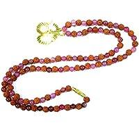 Boho Chic Pink Jade with Brass OM Pendant Rudraksha Mala is a Gentle Healer