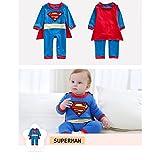 Superman - Disfraz de invierno para bebé de 0 a 2años, tallas 3/6meses, 6/12meses, 12/18meses, 18/24meses Talla:6/12 meses