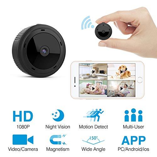 HEYSTOP Mini Kamera WiFi, überwachungskamera WLAN 1080P Spion Versteckte Kameras Überwachung Kamera Kindermädchen-Kamera mit Bewegungserkennung Nachtsicht Fotografieren für Heim und Büro Sicherheit