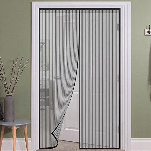 Girm® - 5016451 zanzariera magnetica nera con chiusura automatica 120x250 cm