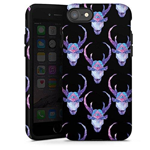 Apple iPhone X Silikon Hülle Case Schutzhülle Space Deer Reh Muster Tough Case glänzend
