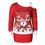 Weihnachten Kleid,Marlene Frauen-Schulter-Weihnachten Print-figurbetontes-Kleid-Partykleid