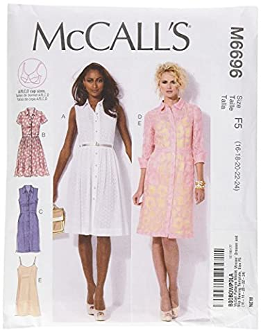 McCall's Patterns M6696 Size F5 16-18-20-22-24 Misses' Dresses and Slip, Pack of 1, White