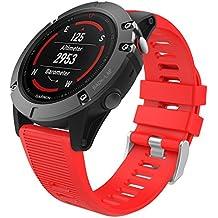 "MoKo Correa para Garmin Fenix 5X, Suave Silicona Banda de Reemplazo para Garmin Fenix 5X Sapphire Multisport 51mm GPS Watch / Fenix 3 Smart Watch Pulsera, 5.7""-8.26"", (NO SIRVE A Fenix 5 NI 5S), Rojo"