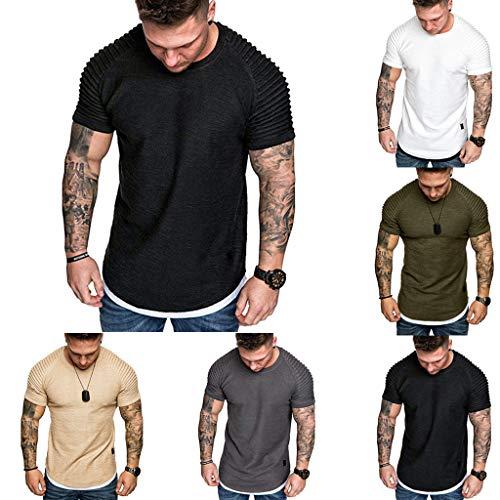 Mode Hommes Chemise Tee Shirt Summer Pleats Coupe Slim Fit Raglan Col Rond À Manches Courtes Couleur Pure Aucun Motif Blouse Taille M-XXXL