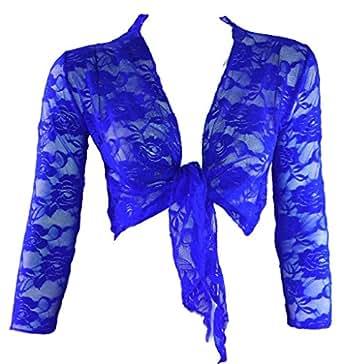 #1182 Damen Designer Bolero Spitze Rosa Türkis Braun Dunkelblau Blau Hellbraun Schwarz Weiss Petrol (Blau)