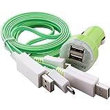 C.D.R. 2 x LED-Kabel Highspeed Flachladekabel,- Datenkabel mit Dual Kfz für DOOGEE X5, DOOGEE Y100 PRO, DOOGEE Y100X, DOOGEE DG280 TIMMY E86, TIMMY M7, LANDVO L500, LANDVO L500S, SWEES, LENOVO A616, LENOVO A816, OUKITEL ORIGINAL ONE, OUKITEL ORIGINAL ONE DUAL SIM, OUKITEL U2, TAKWAK TW700 OUTDOOR, SAMSUNG GALAXY J1 j100H, BLACKBERRY P9982 PORSCHE in 4 verschiedenen Farbe erhältlich (grün)